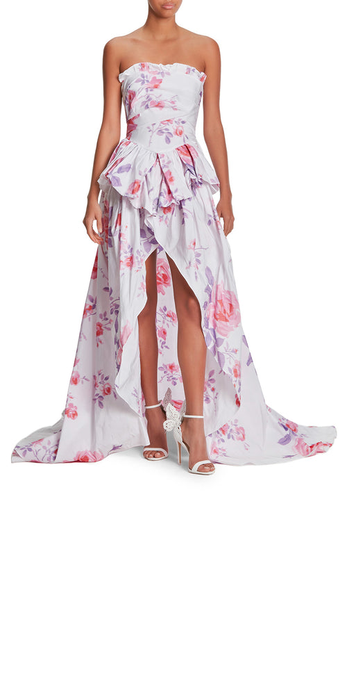 Strapless Print Gown