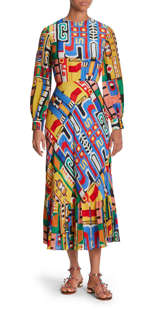 Iris Long Sleeve Multi Print Dress
