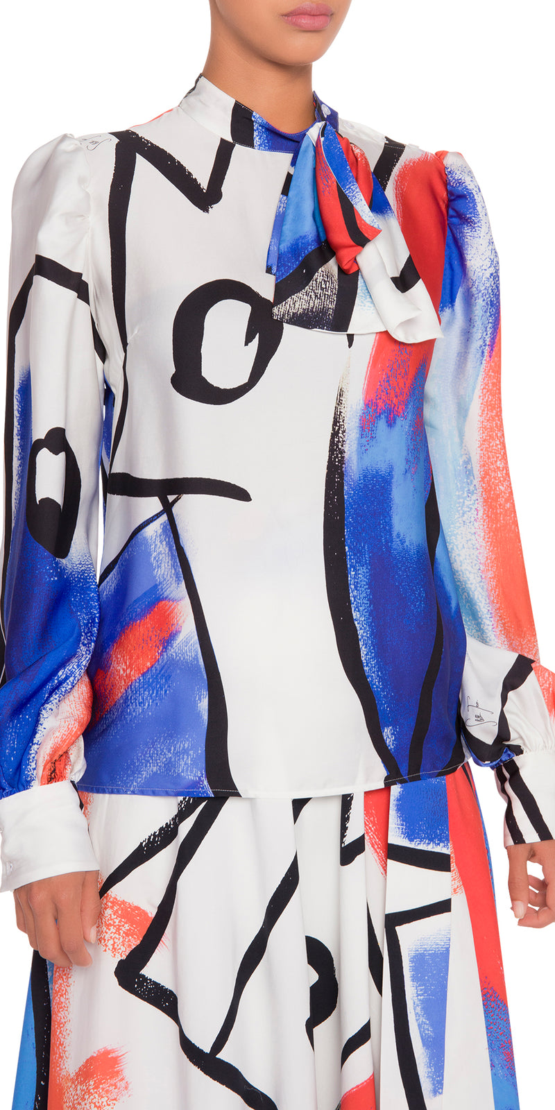 Long Sleeve Abstract Print Blouse
