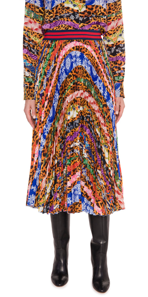 Multi Print Pleat Skirt