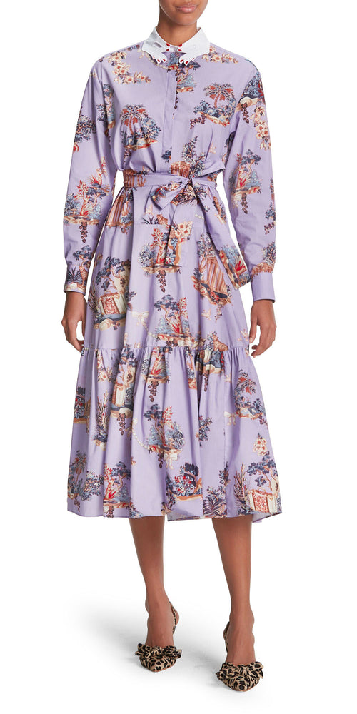 Long Sleeve Voyage Print Dress