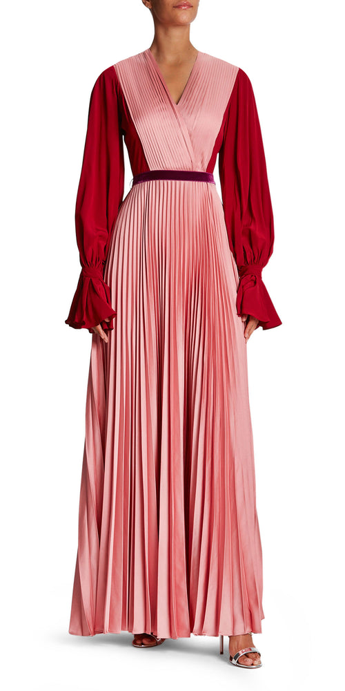 Rora Long Sleeve Pleat Gown