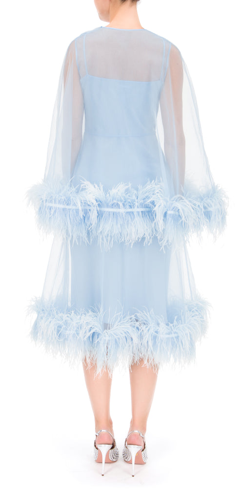 Coco Tulle Feathered Midi Dress