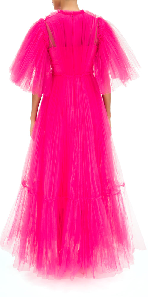 January Pleated Tulle Gown
