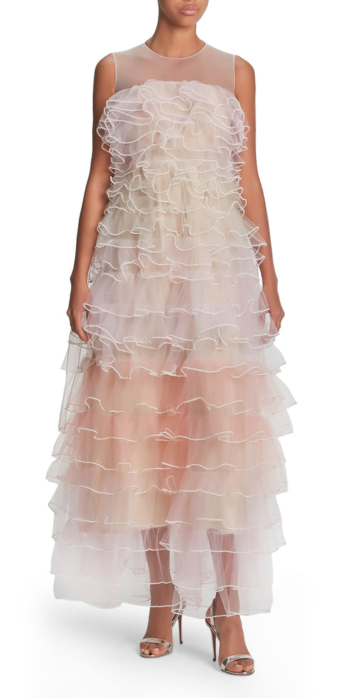 Sleeveless Degrade Tiered Gown