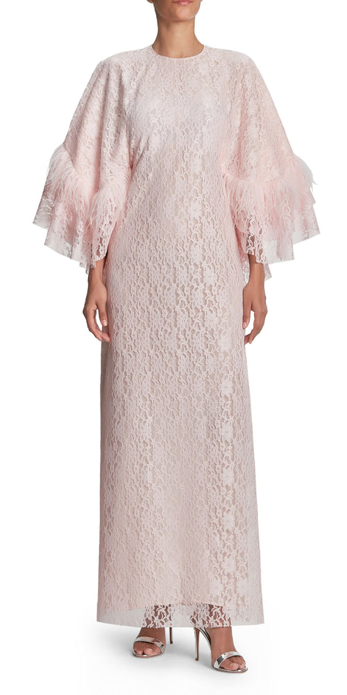 Cape Top Lace And Feather Gown