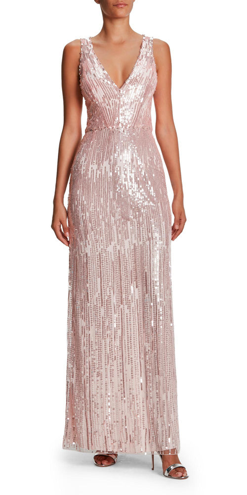 Evia V Neck Sequin Gown