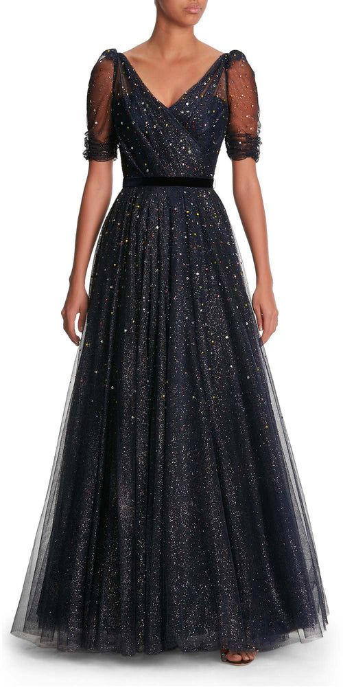 Lula Short Sleeve Glitter Gown