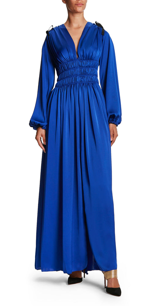 Long Sleeve Ruched Gown