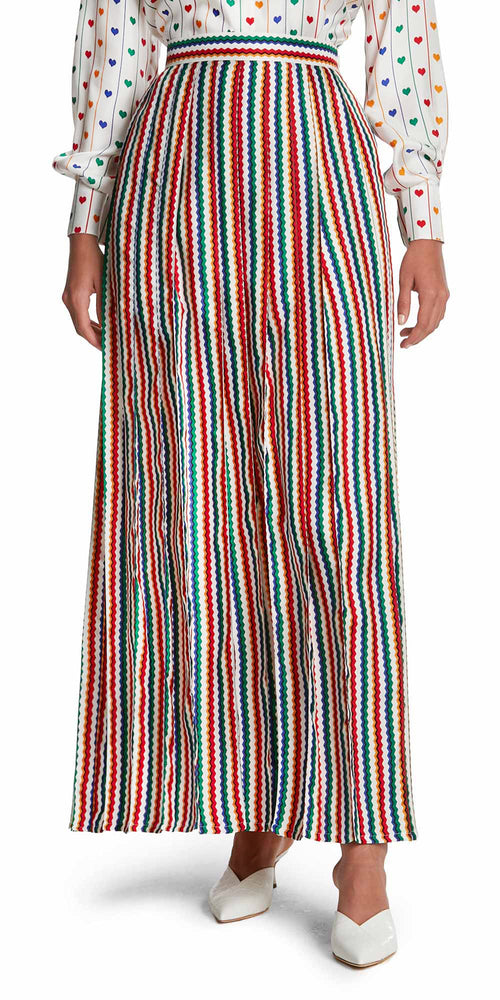 Liberty Zig Zag Pleat Long Skirt