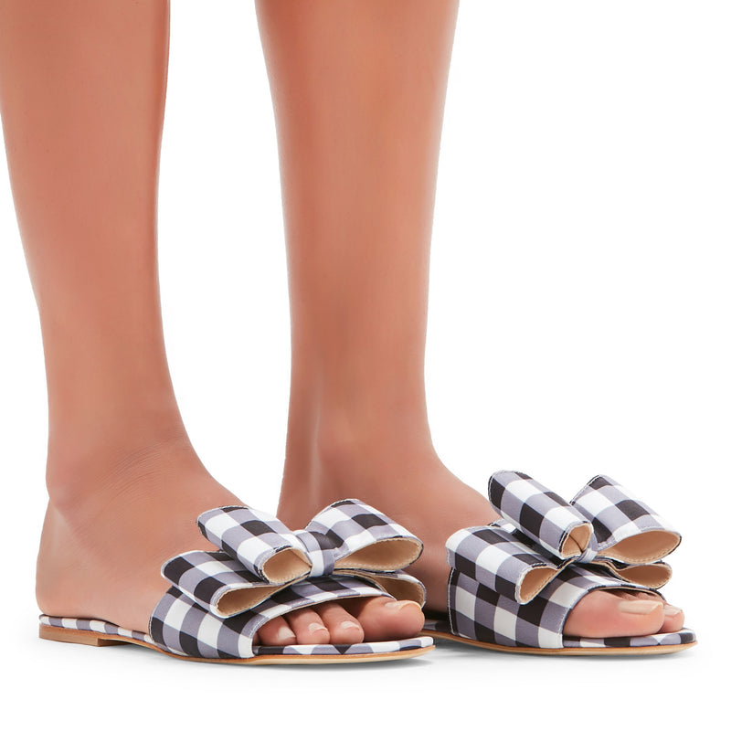 Lola Gingham Bow Slides