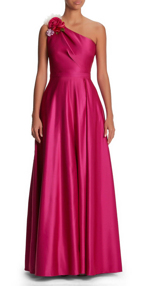 One Shoulder Satin Gown