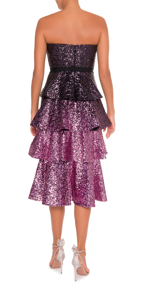 Strapless Sequin Ombre Tiered Dress