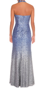 Halter Neck Sequin Ombre Gown