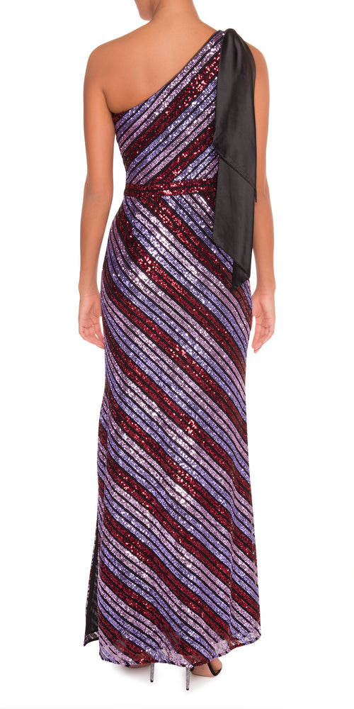 One Shoulder Striped Sequin Gown
