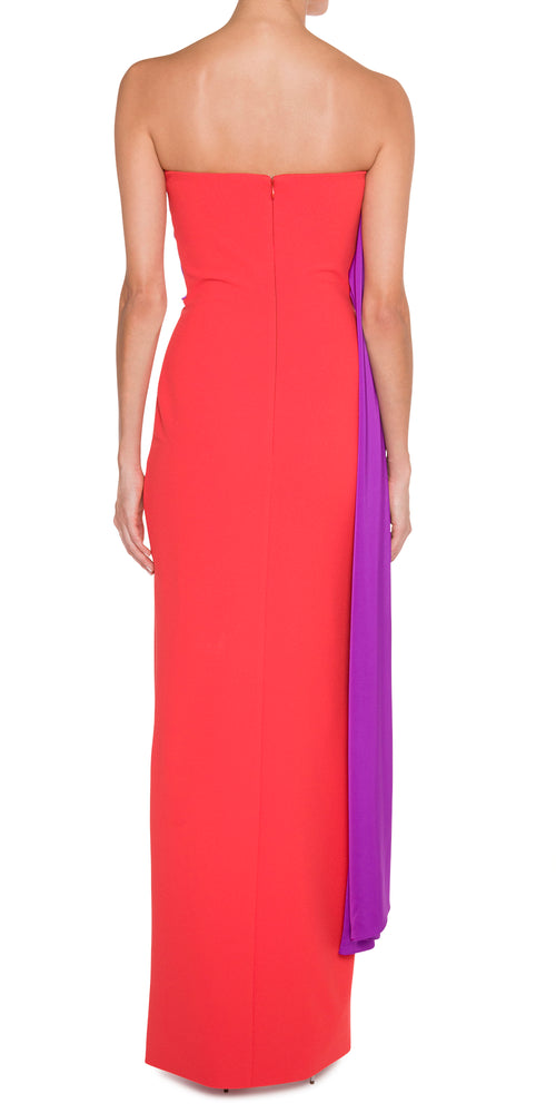 Strapless Color Block Purple/Red Gown