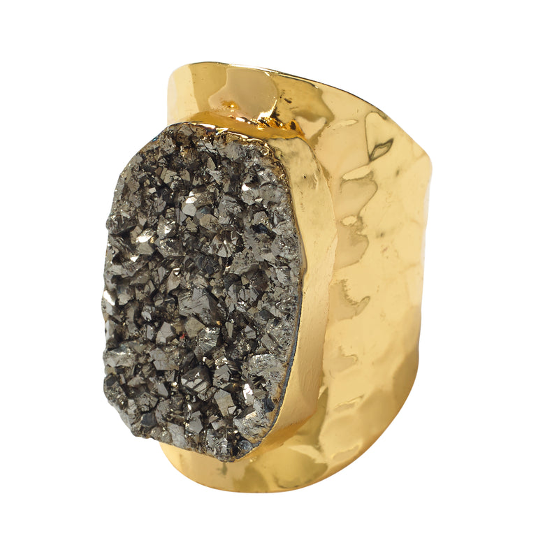 Metallic Druzy Statement Ring