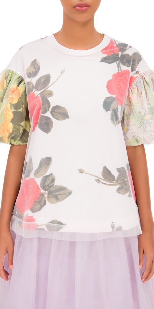 Puff Sleeve Print T-Shirt