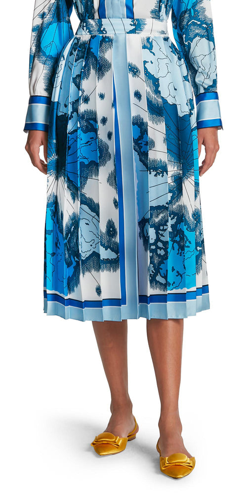 Map Print Pleat Skirt