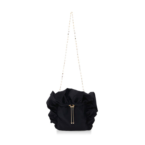 Black Frill Satin Bag