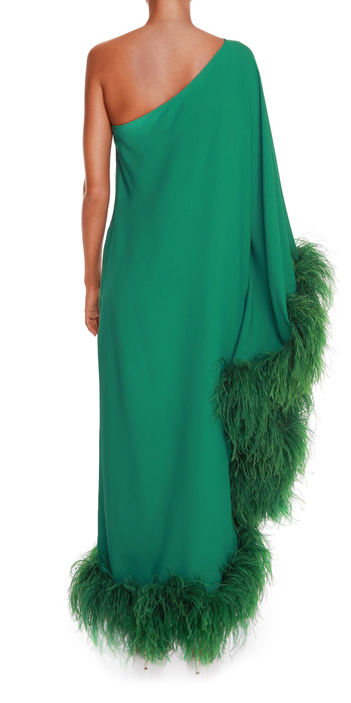 Green One Shoulder Feather Dress