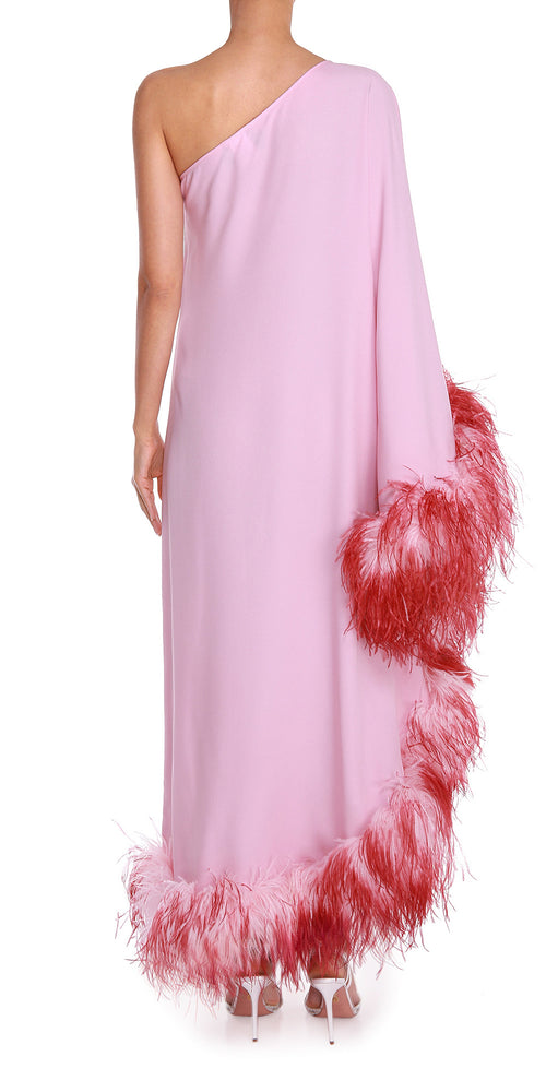Pink One Shoulder Feather Dress