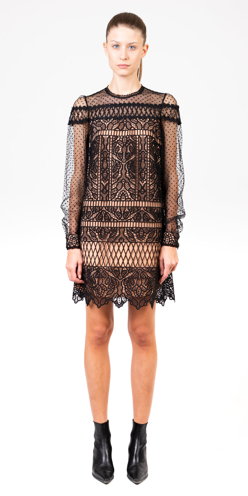 Long Sleeve Guipure Lace Dress