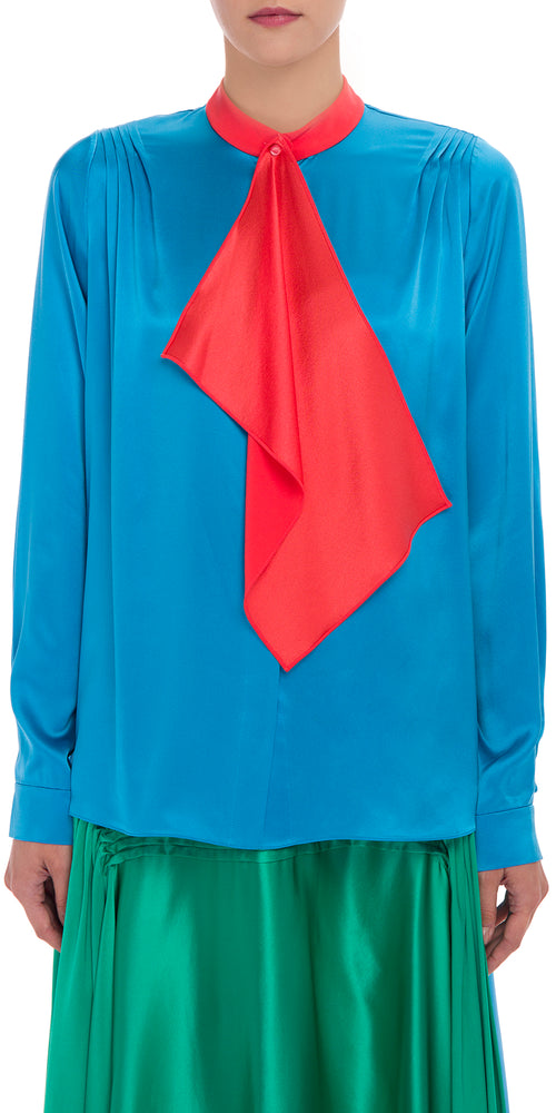 Long Sleeve Bi Colour Blouse