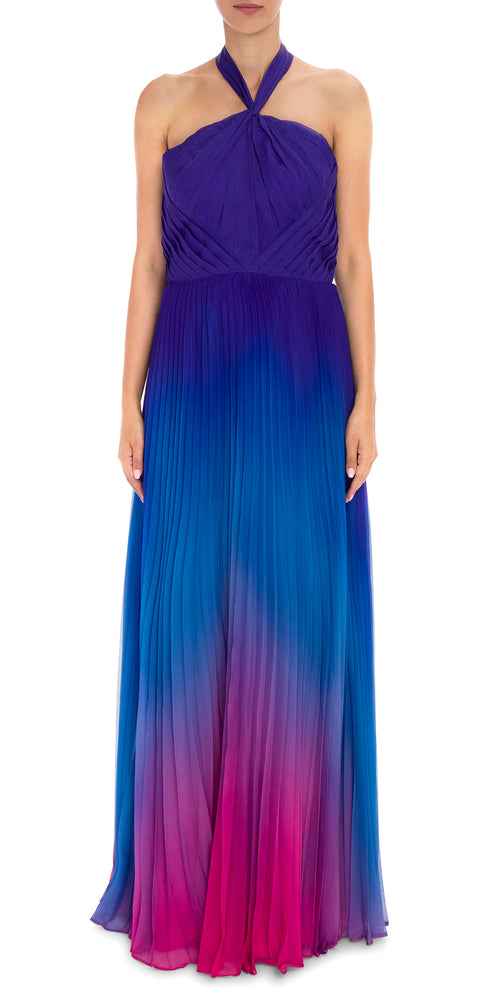 Ombre Halter Pleat Gown