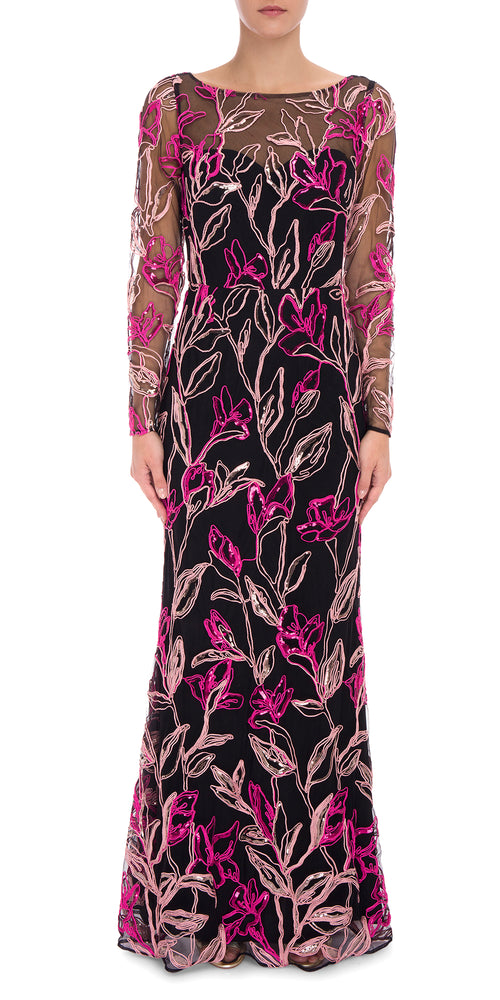L/S Applique Gown