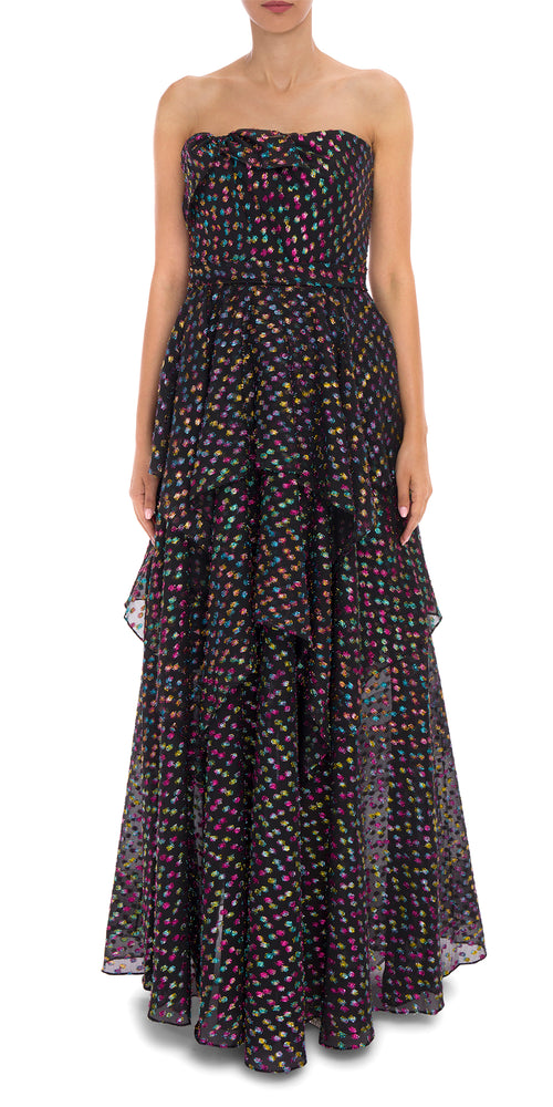 Jacquard Spot Tiered Gown