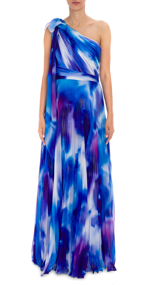 One Shoulder Print Gown