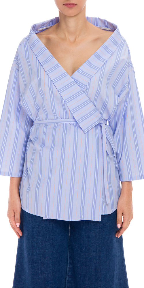 Open Stripe Wrap Shirt