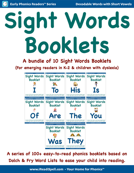 Bundles of Sight Words Booklets (Based on Dolch & Fry Word Lists & Phonics-based Short Vowels)