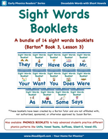 Complete Bundle of Sight Words Booklets for Barton* Students - Books 3 & 4