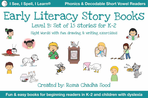 Phonics, Sight Words & Short Vowel Storybooks (Decodable Readers grades K-5 and Dyslexia) - Level B