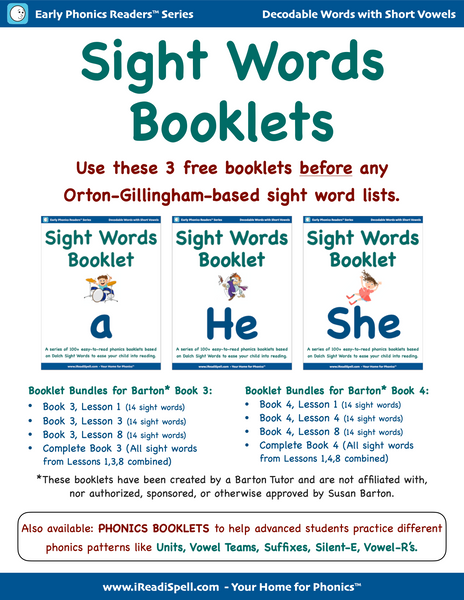 FREE Sight Words Booklets (Based on Dolch & Fry Word Lists & Phonics-based Short Vowels)