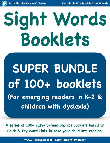 Super Bundle of Sight Words Booklets (Based on Dolch & Fry Word Lists & Phonics-based Short Vowels)