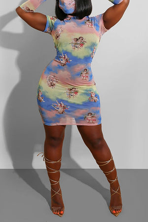 Tie Dye Short Sleeve Three Piece Dress