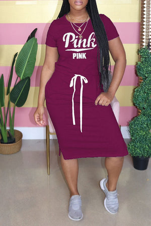 Letter Print Lace Up Pocket Dress
