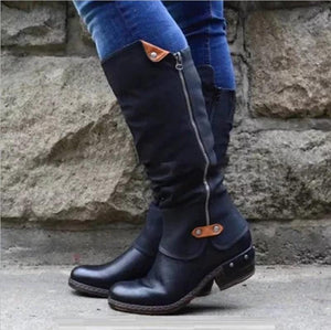 Women Cowboy Knee Boots Punk Boots
