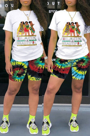 Tie Dye Characters Printed Two Piece Sets