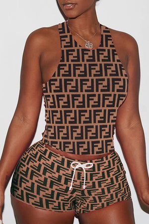 Sleeveless Print Open Back Drawstring Waist Two Piece Outfits