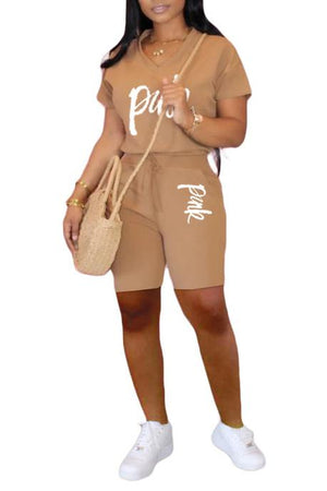 V Neck Letter Print Casual Two Piece Sets