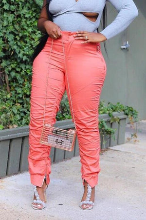 Solid Color High Waist Ruched Pants