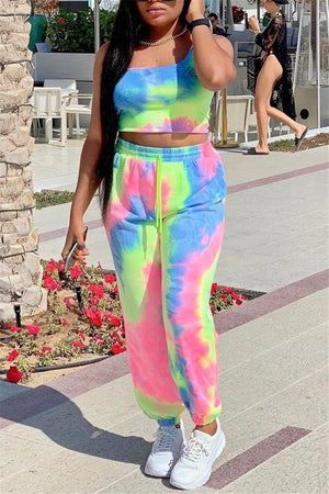 Tie Dye Print Sleeveless Two Piece Sets