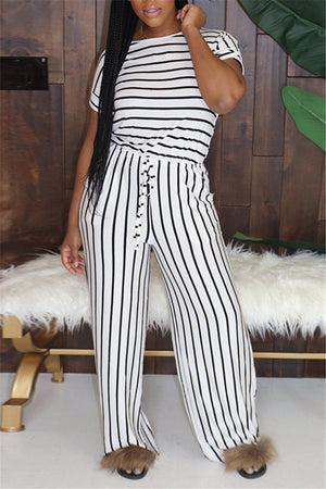 Stripe Print Short Sleeve Drawstring Two Piece Sets