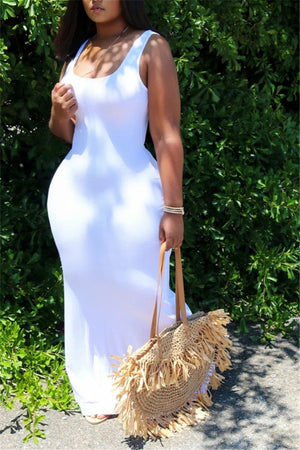 Scoop Neck Solid Color Sleeveless Maxi Dress