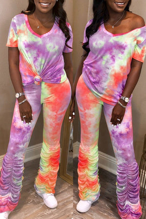 Tie Dye V-neck Ruched Two Piece Outfits