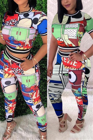 Cartoon Print Short Sleeve Top & Pants